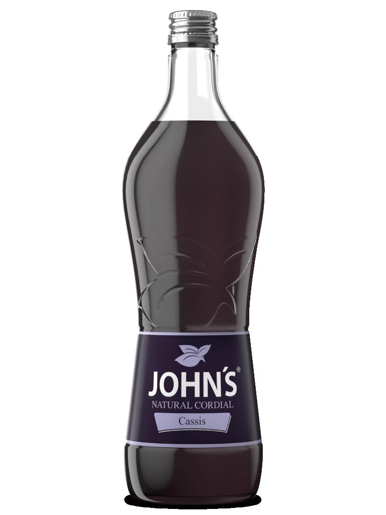 JOHN'S Cassis - Intensiver und leicht saurer Geschmack der schwarzen Johannisbeere, ideal für den Kir Royal.